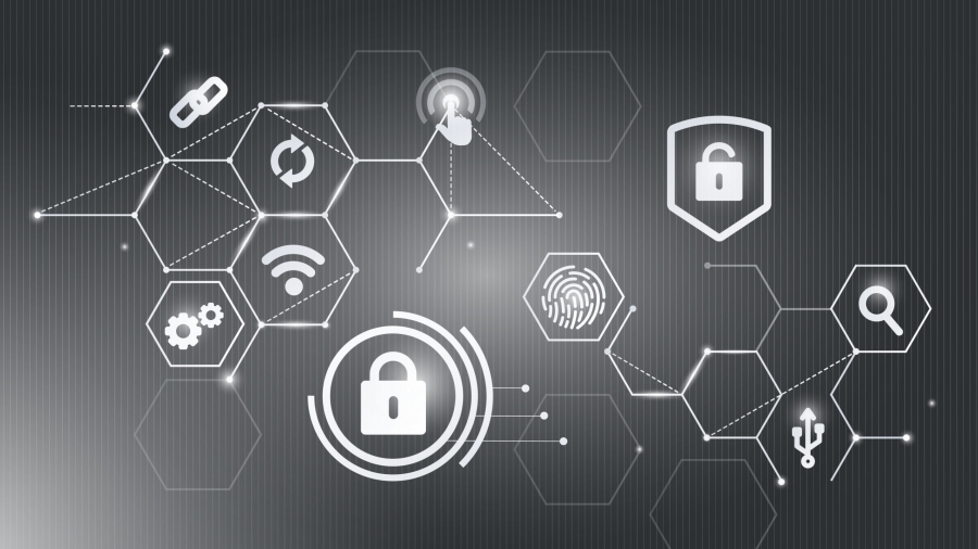 Computer security system icons background